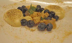 Blauwe bessen cheesecake